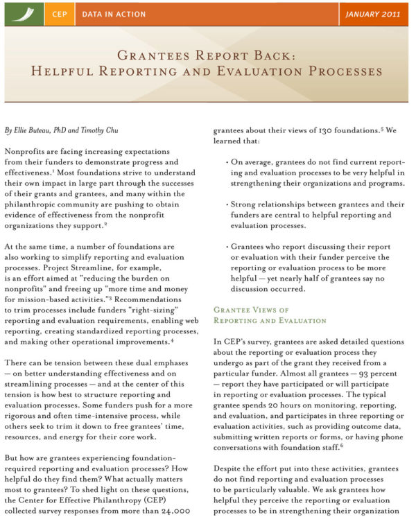 Grantees Report Back: Helpful Reporting and Evaluation Processes
